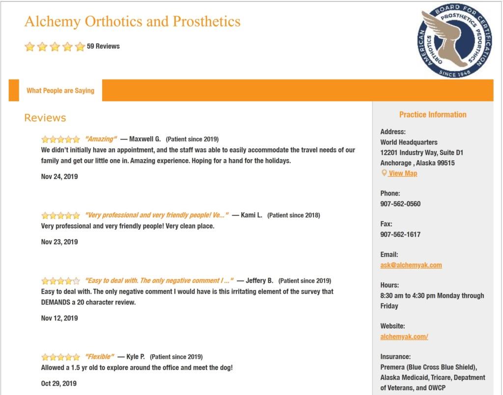 alchemy orthotics prosthetics anchorage fairbanks alaska reviews 5 star